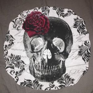 Melamine Halloween Skull and Rose Plate
